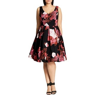 City Chic Womens Casual Dress Floral Print Box Pleated
