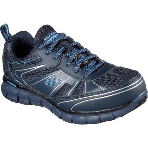 06ecbe2f0bcf Skechers Women  x27 s Work Synergy Algonac Alloy Toe Sneaker Navy Silver