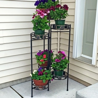 Sunnydaze 6-Tiered Folding Plant Flower Stand - 45-Inches - Indoor-Outdoor - 6-Tier
