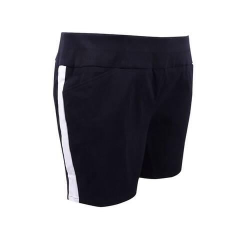 INC International Concepts Women's Plus Size Racing-Stripe Shorts - Deep Black