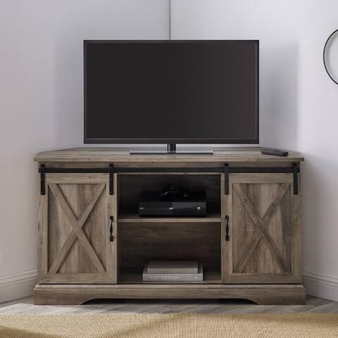 The Gray Barn 52-Inch Sliding Barn Door Corner TV Console