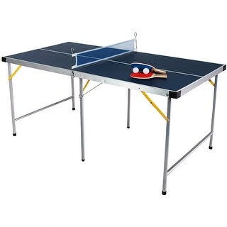 Sunnydaze 60-Inch Table Tennis Ping Pong Portable Folding Table and Accessories