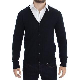 Galliano Galliano Blue Wool Button Down Logo Cardigan