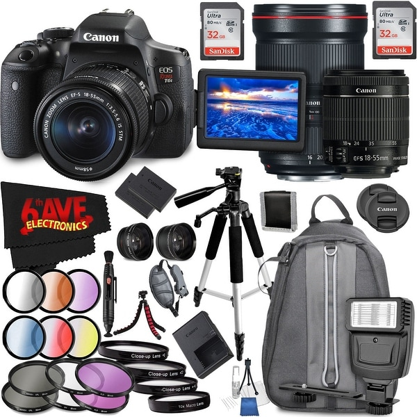 Canon EOS Rebel T6i DSLR Camera with 18-55mm Lens (Intl Model) and Canon EF 16-35mm f/2.8L III USM Lens