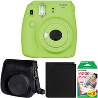 Fujifilm Instax Mini 9 (Lime Green) w/ Groovy Case & Film Bundle