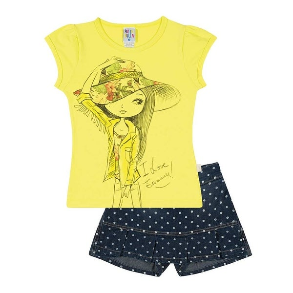 Girls Outfit Graphic Tee and Denim Skorts Set Pulla Bulla Sizes 2-10 years