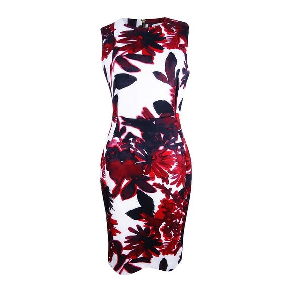54f6359c9b Shop Calvin Klein Women s Floral-Print Sheath Dress - White Red - Free  Shipping Today - Overstock - 21908597