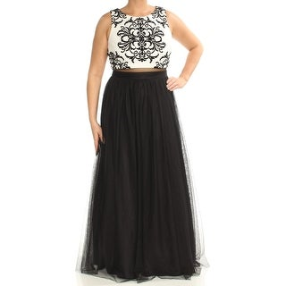 Womens Black Ivory Sleeveless Full-Length Circle Formal Dress Size: 12