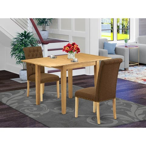 Rectangle Dining Room Table and Hardwood Parson Chairs with Brown Color Linen Fabric Seat (Number of Chairs Option)