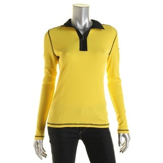L-RL Lauren Active Womens Waffle Knit Contrast Trim Pullover Top - S