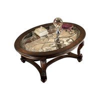 Ashley T499-0 Norcastle Dark Brown Oval Cocktail Table w/ Beveled Glass Top