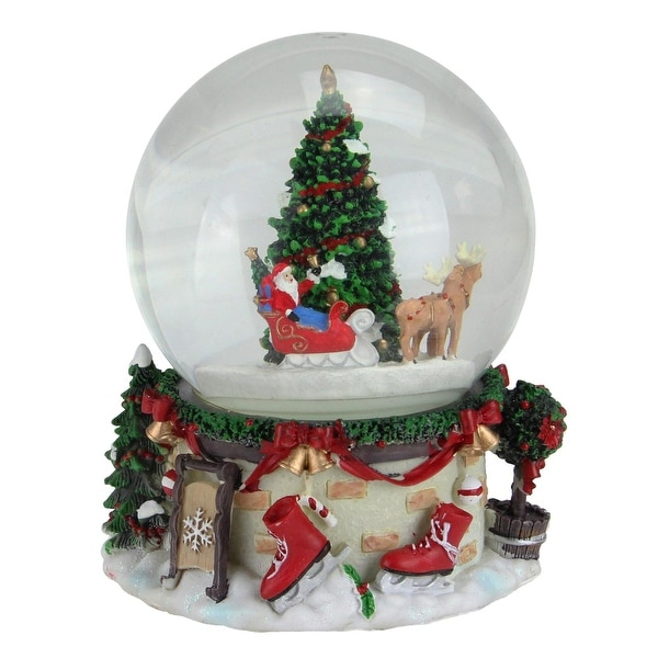 "6.75"" Musical and Animated Santa on Sleigh Rotating Christmas Snow Globe - RED"