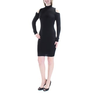 Womens Black Long Sleeve Above The Knee Body Con Cocktail Dress Size: M
