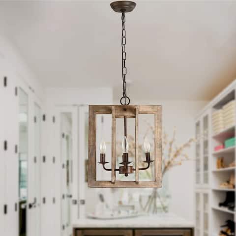 4-Light Modern Farmhouse Rectangular Wood Chandelier