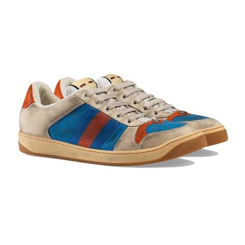 GUCCI Men's GG Screener Leather low-top Sneaker Shoes Beige
