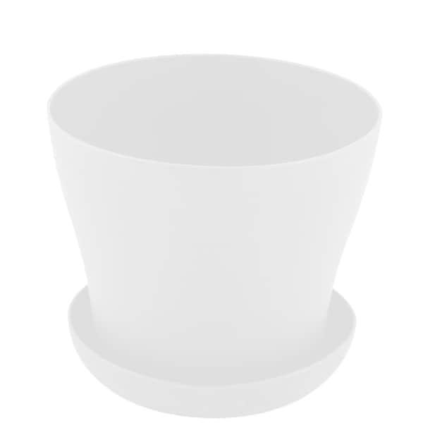 Balcony Windowsill Plastic Round Succulent Plant Holder Flower Pot Tray White