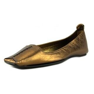 Roger Vivier Moka Women Square Toe Leather Gold Flats