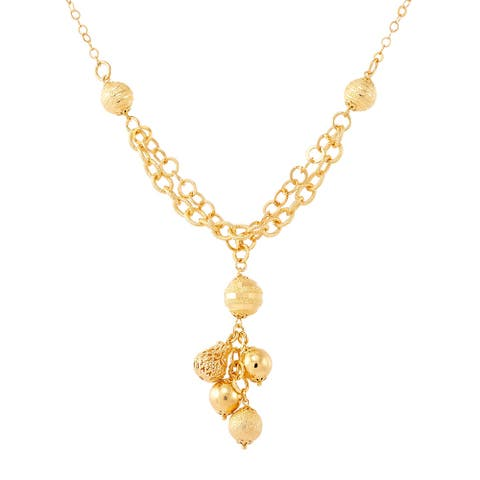 """Italian-Made Beaded Tassel Lariat Necklace in 18K Gold-Plated Bronze, 18"""" - Yellow"""