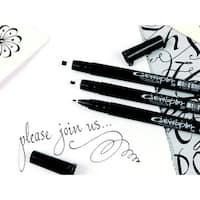 Sakura Pigma Calligrapher Non-Toxic Disposable Pen Set, Assorted Tip, Black, Set of 3