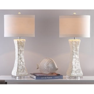 """Link to Safavieh Lighting 30.5-inch White Shelley Concave Table Lamp (Set of 2) - 14"""" x 14"""" x 30"""" Similar Items in Lamp Sets"""