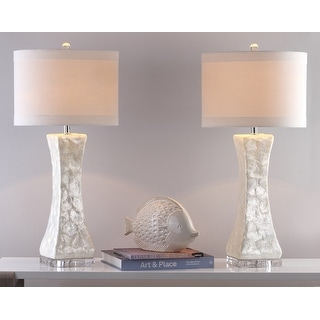 "Link to Safavieh Lighting 30.5-inch White Shelley Concave Table Lamp (Set of 2) - 14"" x 14"" x 30"" Similar Items in Table Lamps"