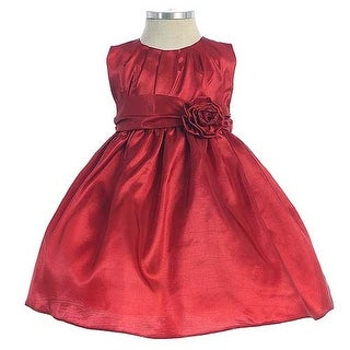 Sweet Kids Solid Red Pleated Christmas Dress Little Girls Size 6M-12