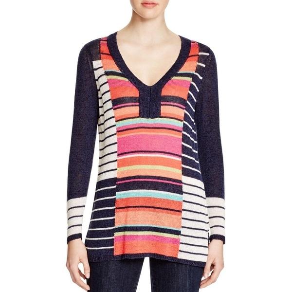 Nic + Zoe Womens Pullover Top Linen Open Stitch