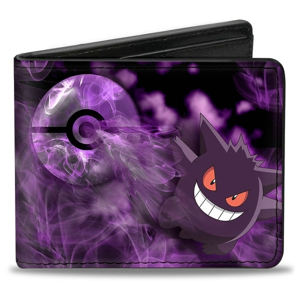 Gengar Pose3 Pok Ball + Pose3 Smoke Black Purples Bi Fold Wallet - One Size Fits most