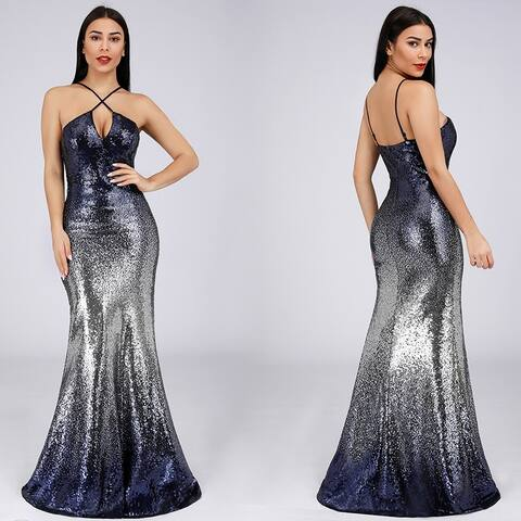 Ever-Pretty Women's Hollow Out Sleeveless Sequins Bodycon Backless Party Evening Dress 07878