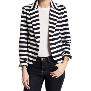 Amanda + Chelsea Blue Womens 14 Striped PonteKnit Blazer Jacket