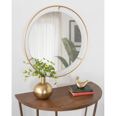 """Kate and Laurel Quila Round Framed Wall Mirror - 27.5"""" Diameter"""
