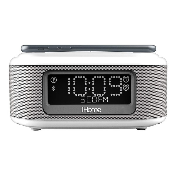 696e91e9bd4 iHome Wireless Charging Bluetooth Alarm Clock with Speakerphone  amp  USB  Charging Port for iPhone X