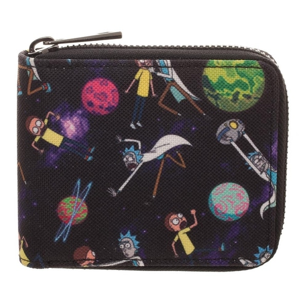Adult Swim Rick and Morty Bi-Fold Zip Around Wallet - One Size Fits most