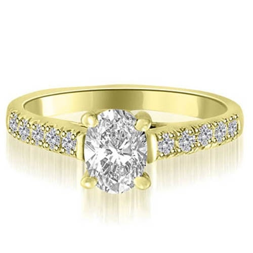 1.20 cttw. 14K Yellow Gold Cathedral Trellis Oval Cut Diamond Engagement Ring