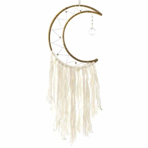 Handmade Crescent Moon Macrame Dreamcatcher (Nepal)