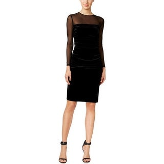 Calvin Klein Womens Party Dress Illusion Ruched