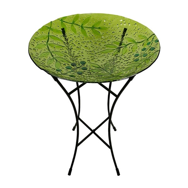 "21"" Hand Painted Glass Green Leaves and Berries Spring Outdoor Garden Bird Bath"