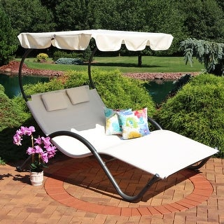 Sunnydaze Double Chaise Lounge with Canopy Shade and Headrest Pillows - Beige