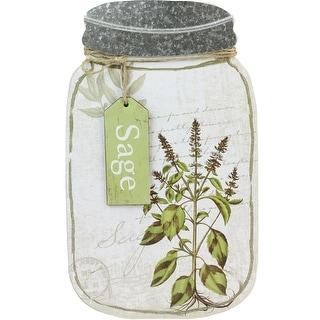 "14.25"" Decorative Sage Herb Mason Jar Wall Hanging Plaque"