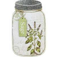 "14.25"" Decorative Sage Herb Mason Jar Wall Hanging Plaque - Green"