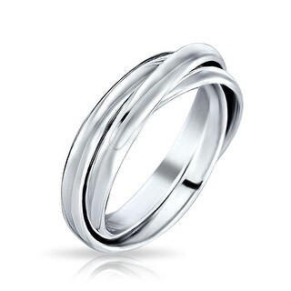 Bling Jewelry Unisex 925 Silver Rolling Triple Russian Wedding Band Ring (More options available)