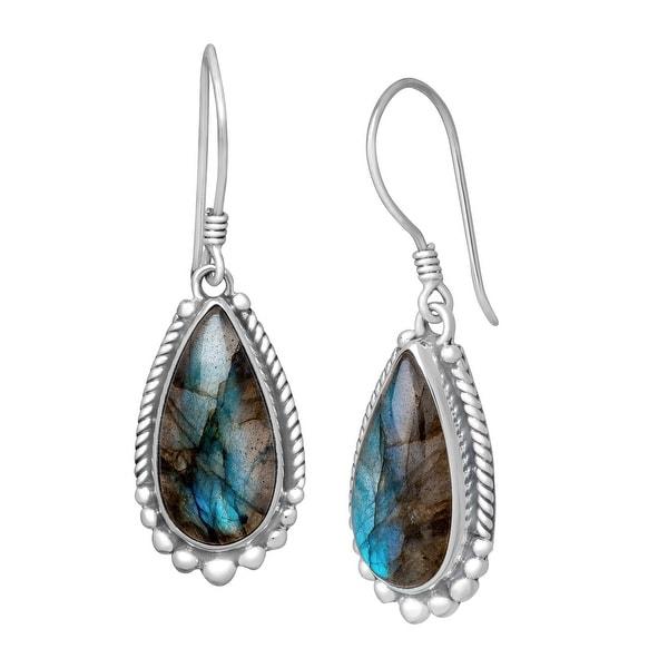 Sajen Natural Labradorite Drop Earrings in Sterling Silver