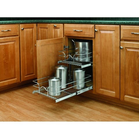 """Rev-A-Shelf 5WB2-1522 5WB Series 15"""" Wide by 22"""" Deep Two Tier Pull Out Base Cabinet Wire Basket Organizer - Chrome"""