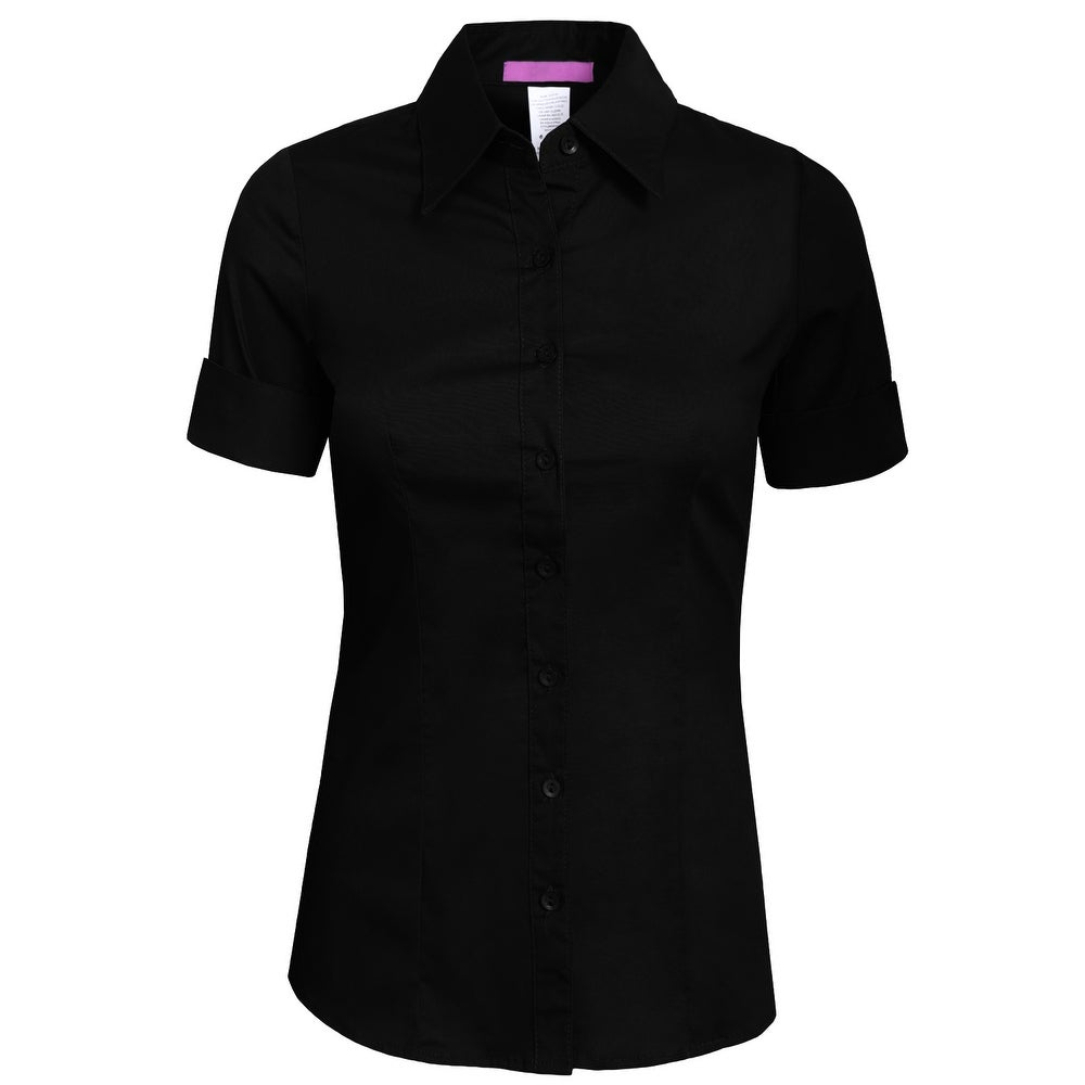 NE PEOPLE Womens Tailored SHORT Sleeve Button Down Shirt