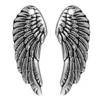 TierraCast Antiqued Silver Plated Lead-Free Pewter Wing Charms 28mm (2)