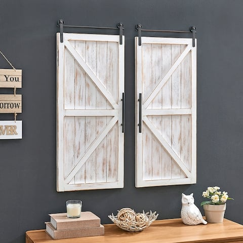 FirsTime & Co.® Carriage Farmhouse Barn Door Wall Plaque Set, Wood, 14 x 2 x 34 in, American Designed - 14 x 2 x 34 in