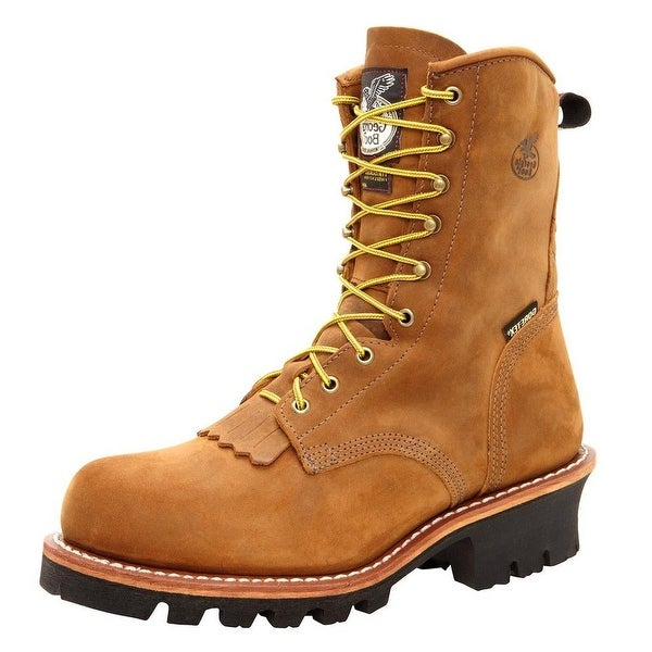 "Georgia Boot Work Mens 8"" ST WP Logger Gore Tex Worn Saddle"