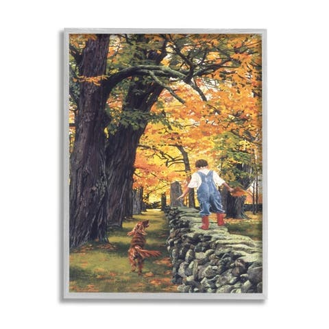 Stupell Industries Boy Walking on Stone Wall with Dog Framed Wall Art