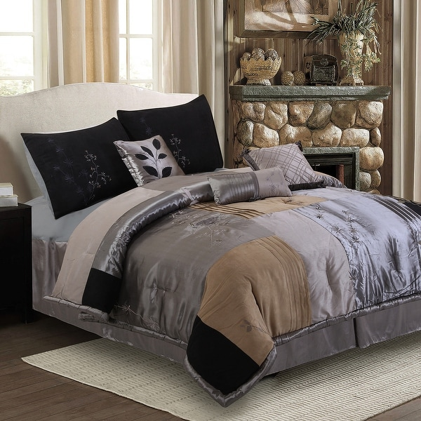 Back to Nature Embroidered 7-Piece Comforter Set. Opens flyout.