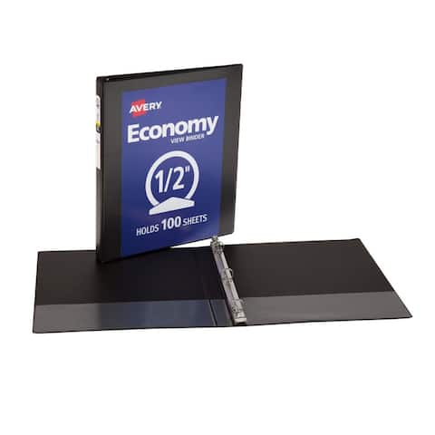 Avery 1/2in capacity black view binder 5705
